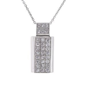 0.75 Ct Cubic Zirconia Pendant With Chain 14k Gold
